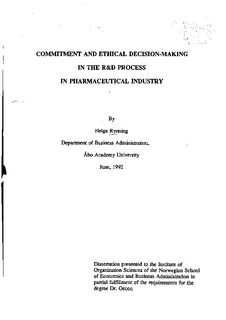 Commitment and ethical decision-making in the R&D process in